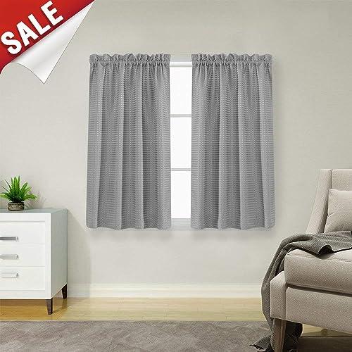 waffle weave half window curtains for kitchenbathroom window treatment tiers set 72 - Bathroom Windows