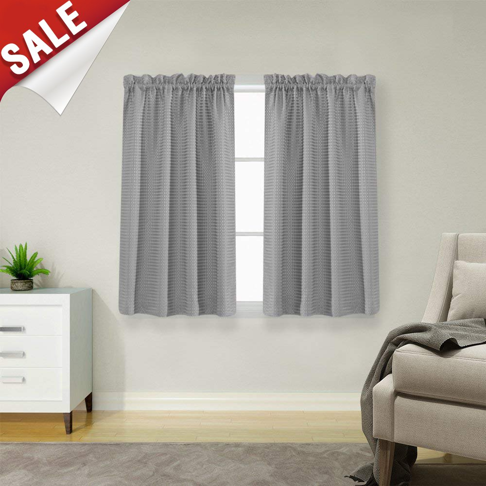 Waffle Weave Half Window Curtains for Kitchen/Bathroom Window Treatment Tiers Set (72-by-45 Inch Long, Grey, One Pair)