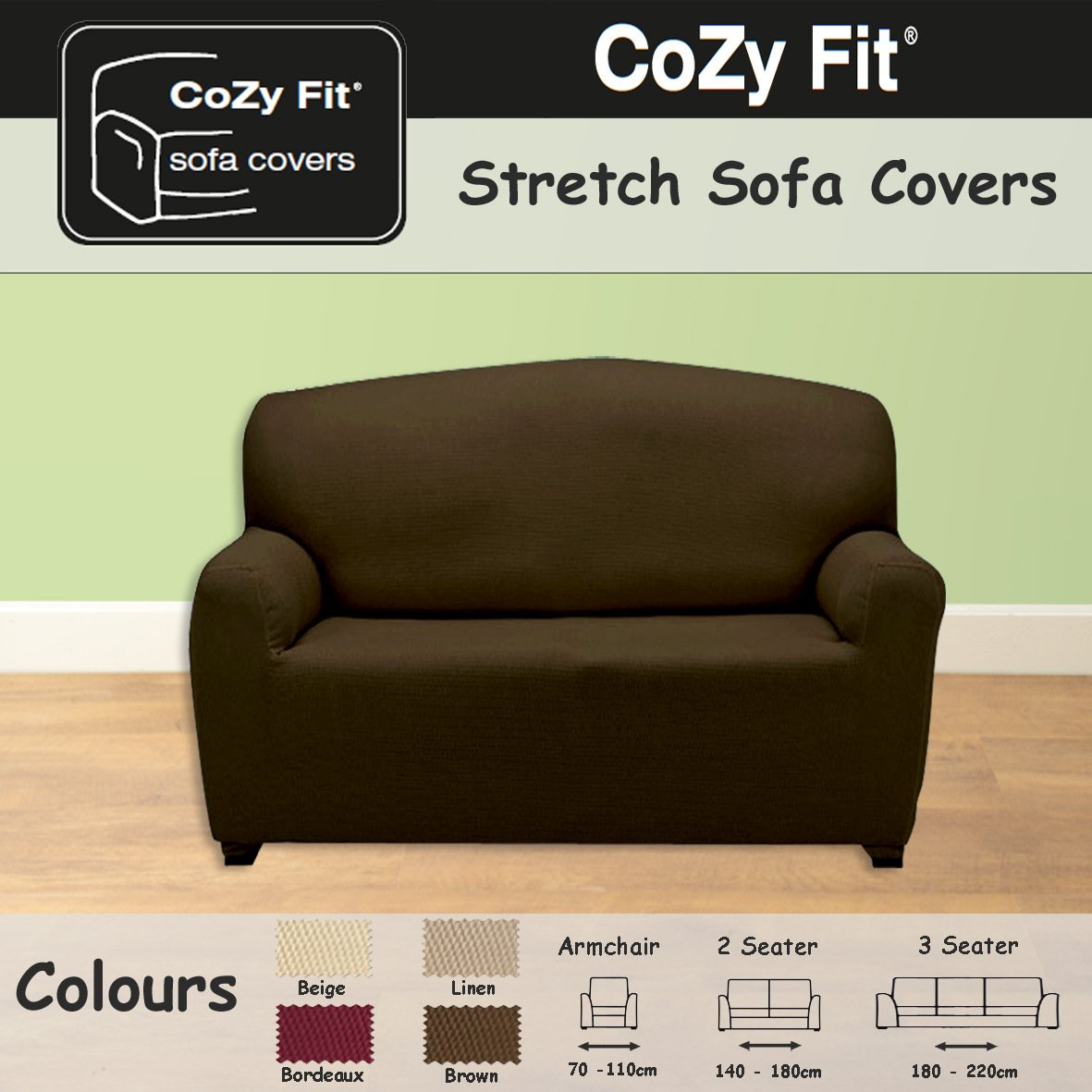 2 SEATER   Easy Stretch Elastic Fabric SOFA / SETTEE SLIP COVER Chocolate  Brown U0027Sofa Huggersu0027 By VICEROY BEDDING: Amazon.co.uk: Kitchen U0026 Home