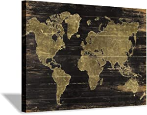 World Map Canvas Wall Art: Map on Dark Brown Wood Background Graphic Art Painting Print for Living Room Decor (36''x24'')