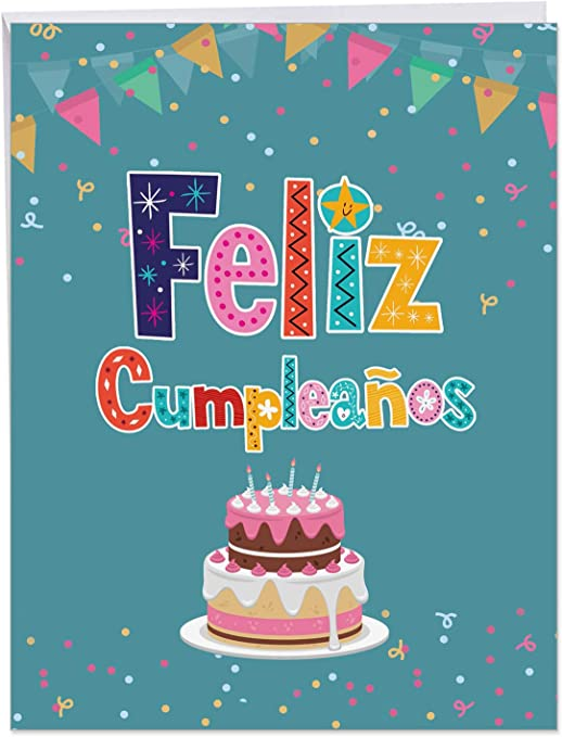 Feliz Cumpleanos Spanish Birthday - Big Spanish Birthday Card with Envelope (Extra Large 8.5 x 11 Inch) - Colorful Greeting Notecard with Cake Design ...