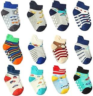 82dfb7d456311 12 Pairs Baby Boy Grips Socks Cotton, Newborn Infant Toddler Boy Anti skid  Socks