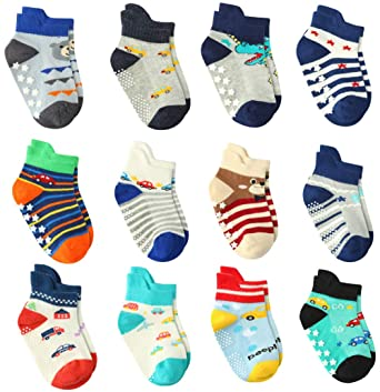 1038e4da489e0 12 Pairs Baby Boy Socks Non Skid with Grips, Toddler Boy Anti skid Socks