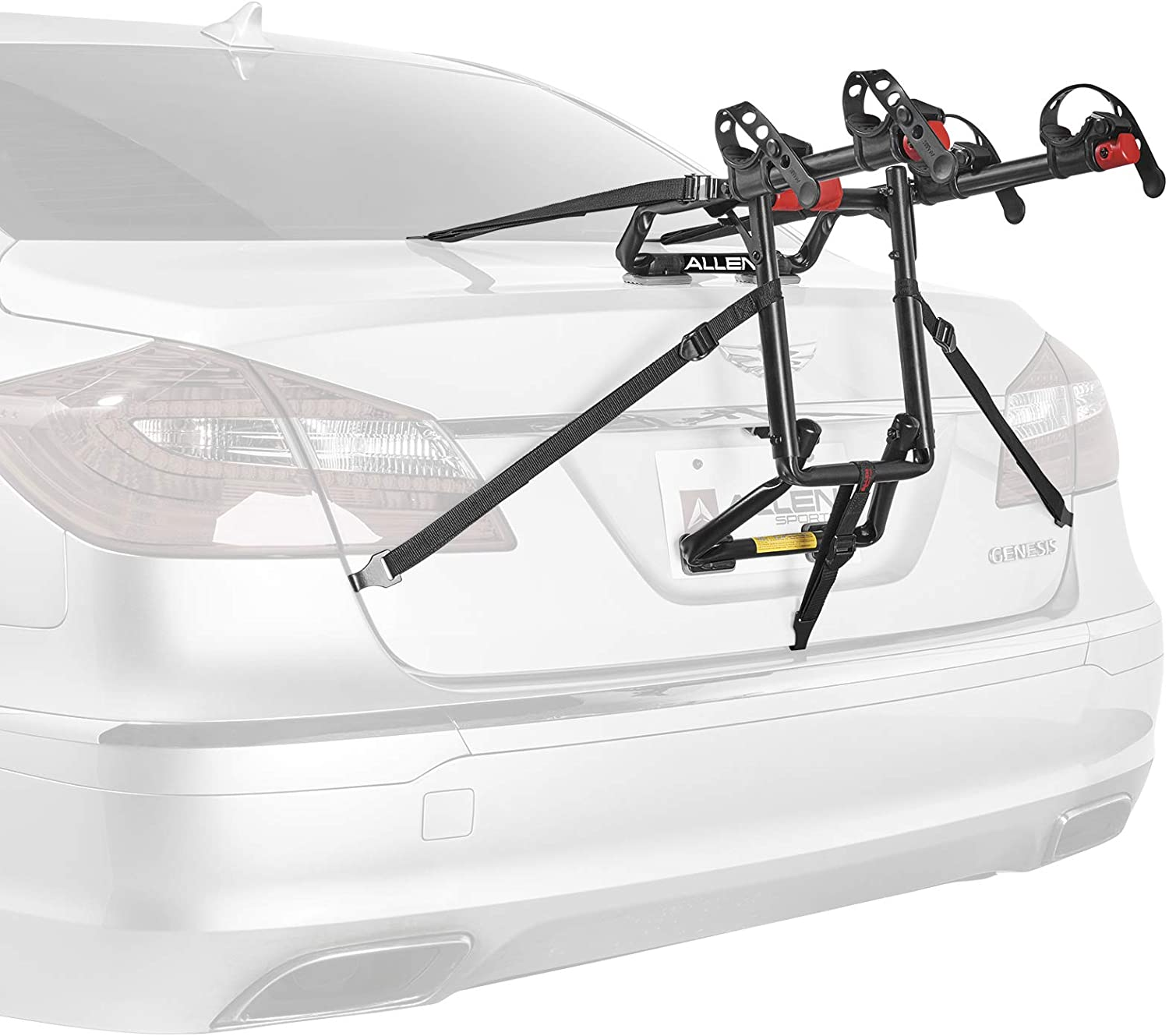 Image of a bike rack attached to a car's trunk in black and red colors.
