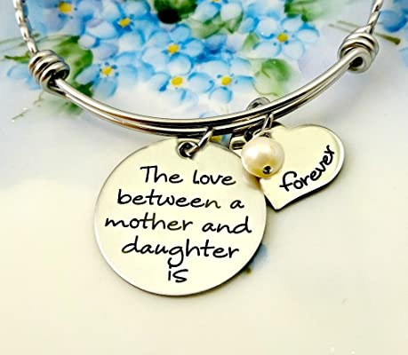 Love Between A Mother and Daughter Is Forever Bangle Bracelet - Engraved
