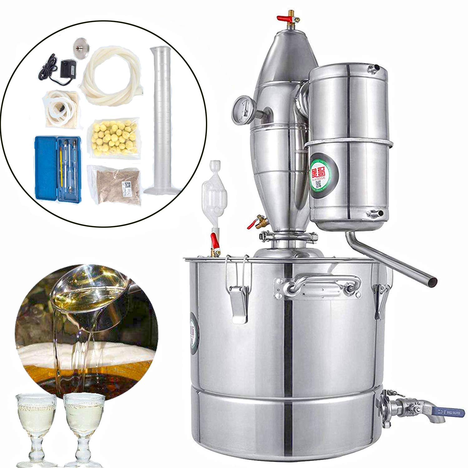 BestEquip 7.9Gal Home Water Alcohol Distiller 30L 304 Stainless Steel Distiller Moonshine Wine Making Kit with Thermometer for Home Brewing (7.9Gal 30L) by BestEquip