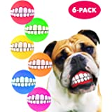 HAWWWY Funny Teeth Balls for Dogs, Fun Pet Toy with Human Smile Design and Squeaker, Nontoxic for Puppy Small Medium or Large