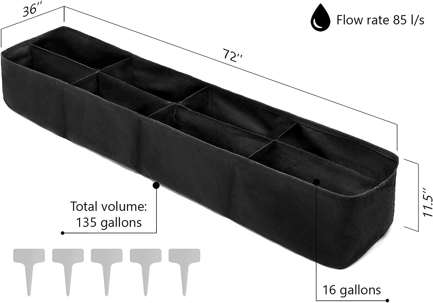 Kenley Fabric Raised Garden Bed for Vegetables – 135 Gallon Rectangle Grow Box Gardering Container – Pots Planter Bag with Plant Tags Set