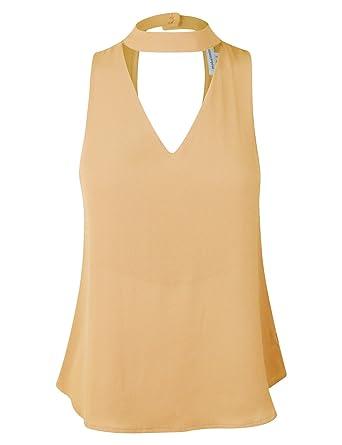 03684e5a2362c9 makeitmint Women s Chic Choker Sleeveless Double Neck Blouse Top  5 Colors   YIK0040-YELLOW