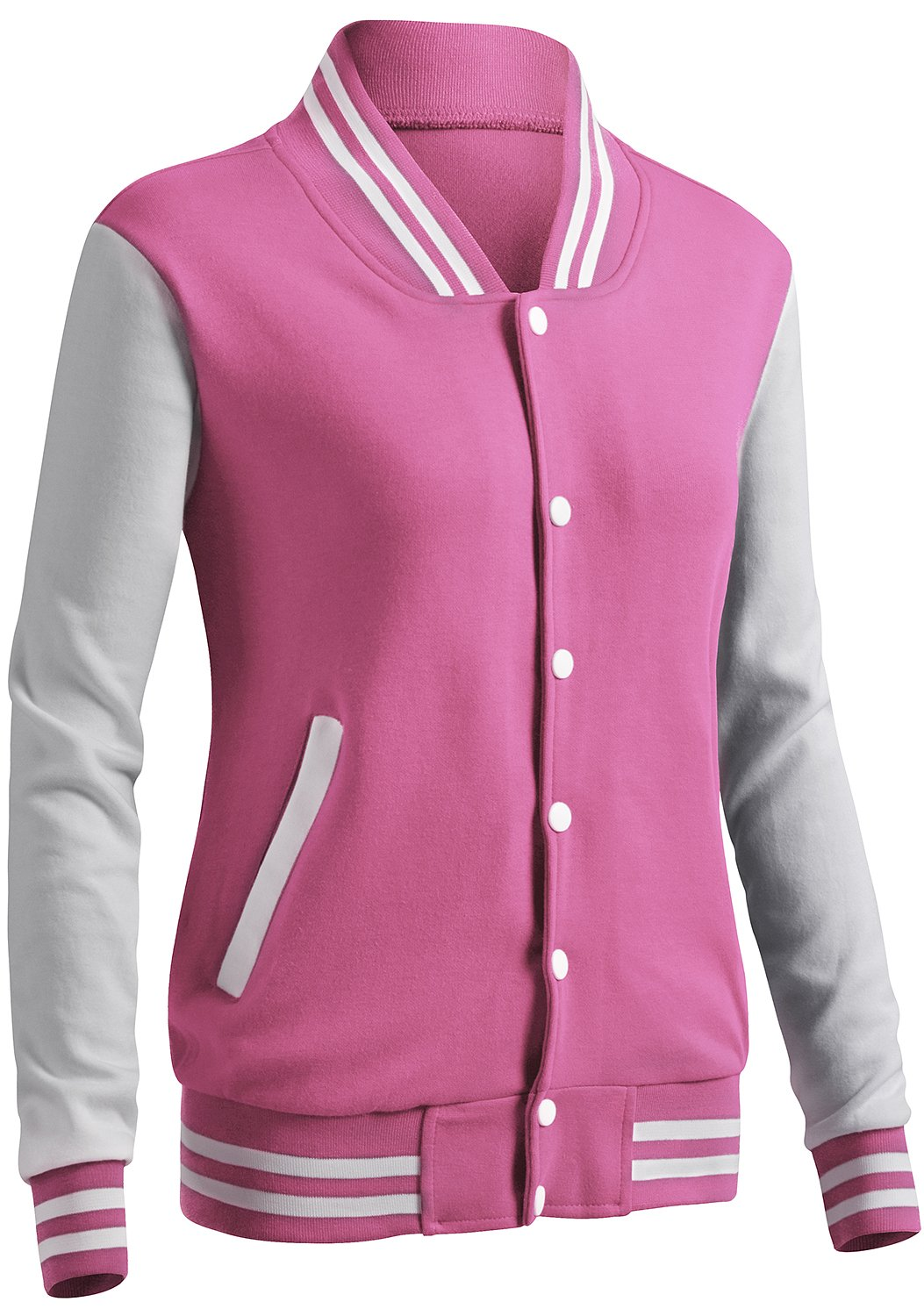 CLOVERY Women's Varsity Style Long Sleeve Button Jacket Pink M