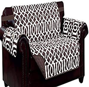 Kashi Home Chocolate/Beige Print w/Strap and 2 Side Pockets-Loveseat Tori Reversible Furniture Protector