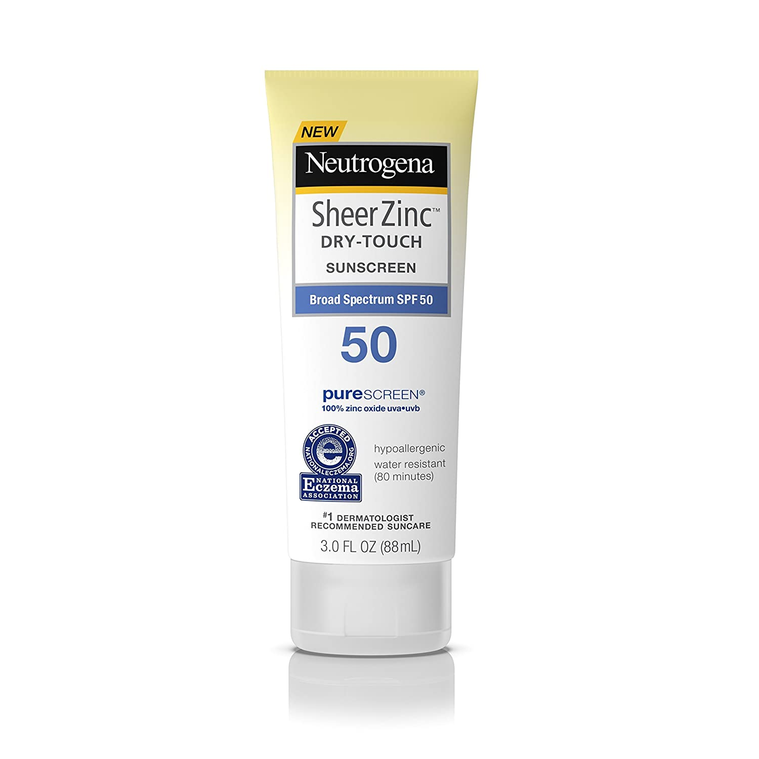 Neutrogena Sheer Zinc Oxide Dry-Touch Sunscreen Lotion with Broad Spectrum SPF 50, Water-Resistant, Hypoallergenic & Non-Greasy Mineral Sunscreen, 3 fl.Oz (Pack of 3) 086800110804