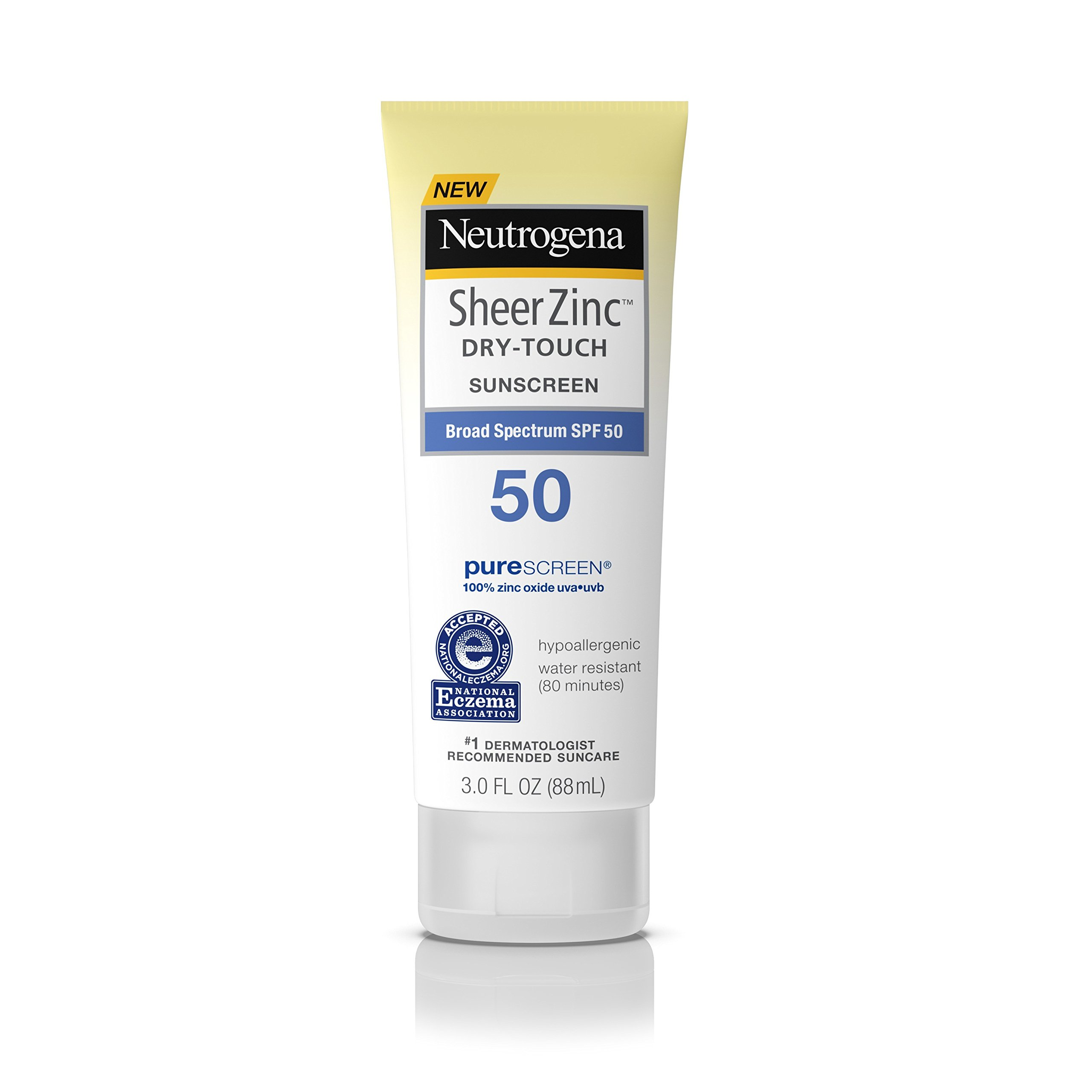 Neutrogena Sheer Zinc Oxide Dry-Touch Sunscreen Lotion with Broad Spectrum SPF 50, Water-Resistant, Hypoallergenic & Non-Greasy Mineral Sunscreen, 3 fl. Oz (Pack of 3) by Neutrogena