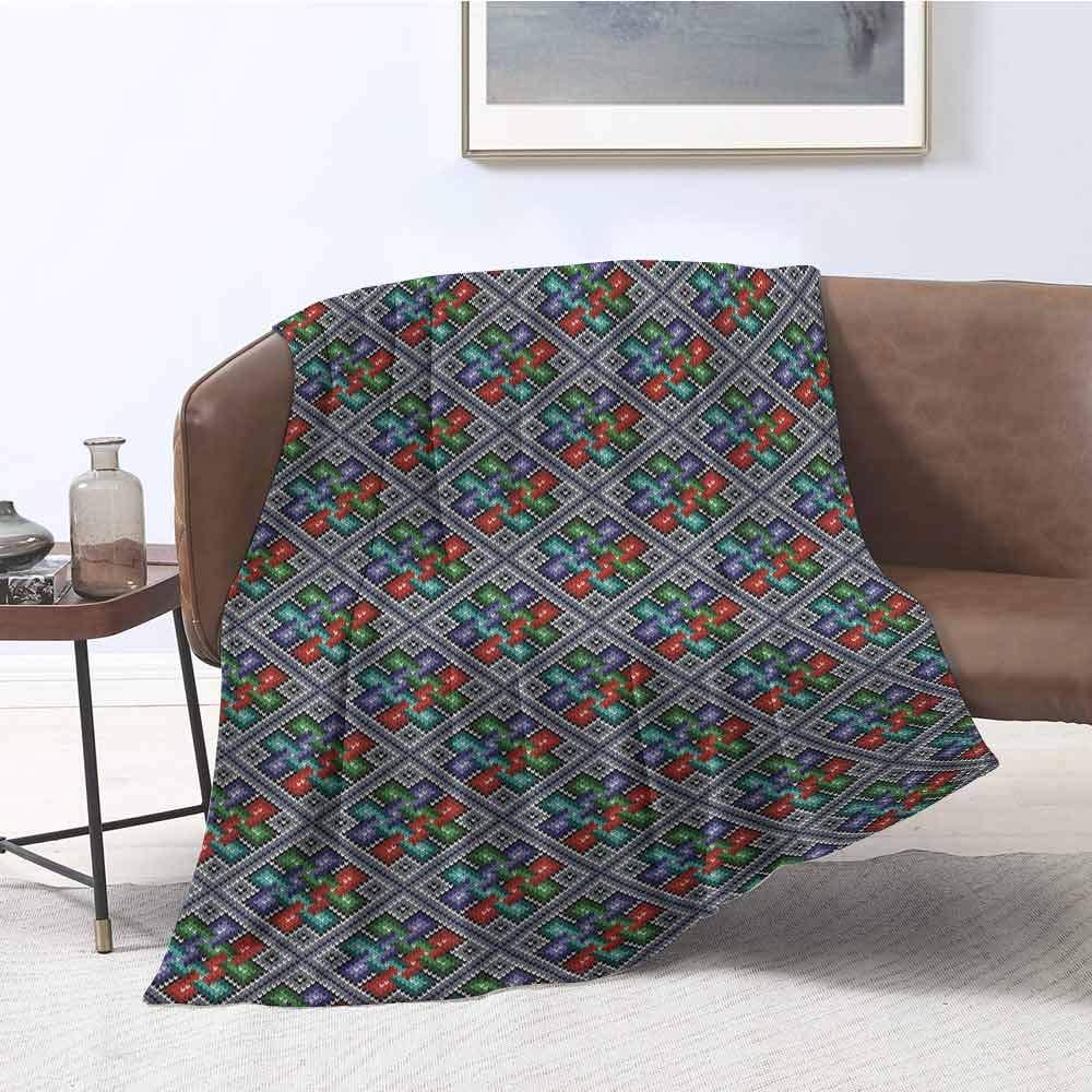 Traditional Folk Pattern in Knitting Form South American Ecuador Geometric Tropical Ultra Soft Lightweight Blankets Multicolor W52xL60