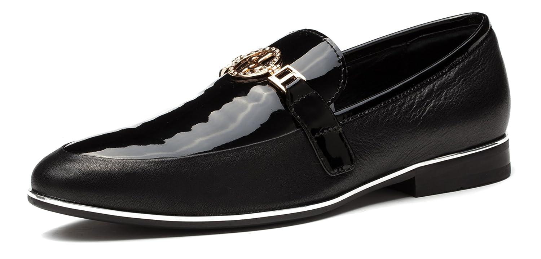 Chaussures fermées OPP en cuir avec lisse, pour hommes, avec cuir une touche métallique 45 EU Noir 7f1489