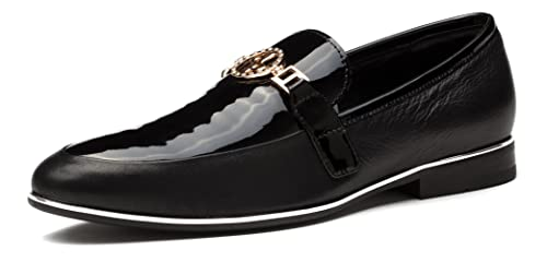 OPP Men's Low Heel Loafer Smooth Leather Shoes Slip On Metal Bit Detail(40  EU