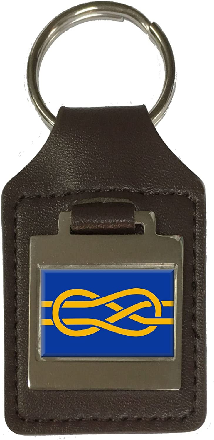 Leather Keyring Engraved Fiav Flag