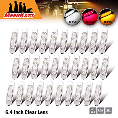 Meerkatt 12V DC (Pack of 30) 6.4 Inch Clear Lens 10 Amber + 10 Red + 10 White Super Bright 12 LED Surface Mount Clearance Marker Bulb Heavy Truck RV Lighting Peterbilt-style Universal Waterproof BB12: Automotive