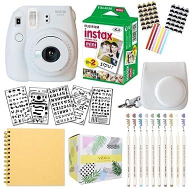 Fujifilm Instax Mini 9 Instant Camera (Smokey White) + Fuji INSTAX Film (20 Sheets) + Bundle with: Groovy Camera Case + Scrapbook Photo Album + Stencils + Metallic Markers + Photo Corners