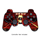 GameXcel ® Peau Sony PS3 Controller - Personnalisé Playstation 3 vinyle autocollant à distance - Play Station 3 Joystick Decal - Skull Dark Red [Controller Non inclus]