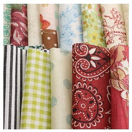 Ogquaton Durable 100 Piezas 10x10 cm Tela de algodón Floral Cuadrado Tela de Retazos para el Arte de Bricolaje Costura