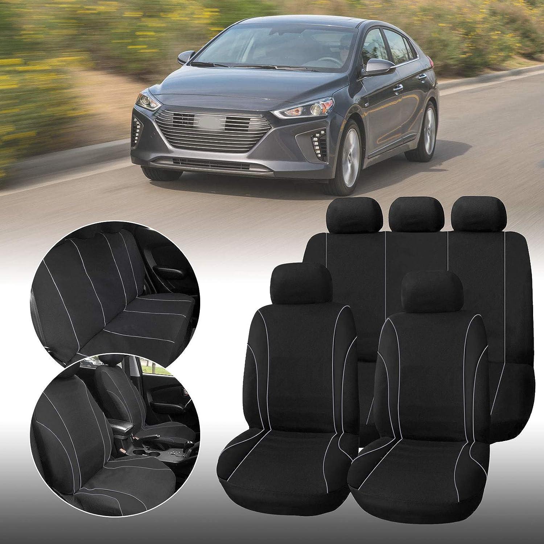 Anladia Universal Auto Autositzabdeckung Autositzbezuege KFZ PKW Sitzbezuege Schonbezuege Bezug Sitzschoner Sitzschutz Schutz Komplettset Grau