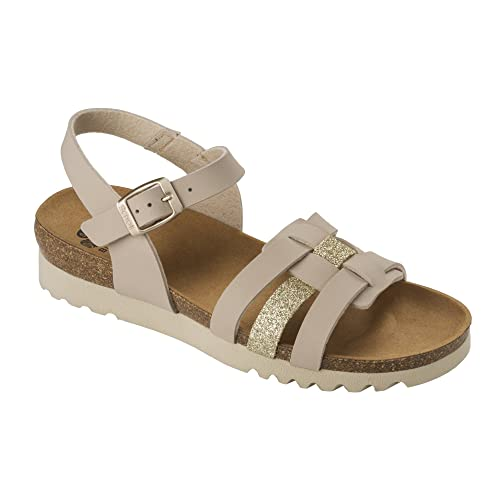 4cb500b6c02a Scholl Mirke Bioprint Sandals - Biege Platinum (3)  Amazon.co.uk ...