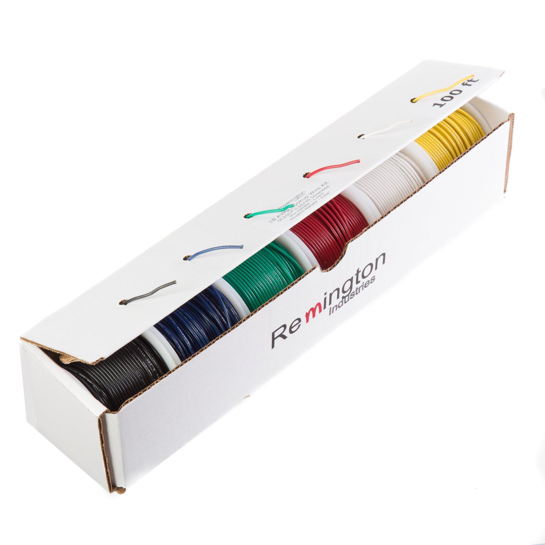 Remington Industries 16UL1007STRKIT100 UL1007 16 AWG Gauge Stranded Hook-Up Wire Kit, 300V, 0.0508'' Diameter, 100' Length Each