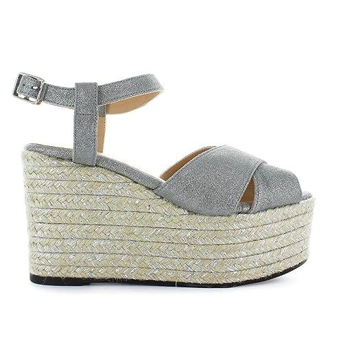 Castañer Femme Semelle Chaussures Sandale Espino Argenté À Compensée 1TJlKcF3