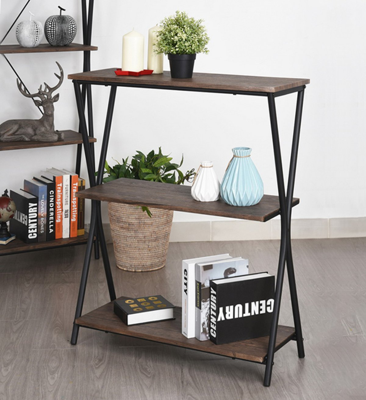 Aingoo 3 Shelf Bookcase, Vintage Industrial Bookshelf, MDF with Metal Frame Shelving Unit, Home Office Shelf Organizer, Multipurpose Storage Shelf Display Rack (Brown)