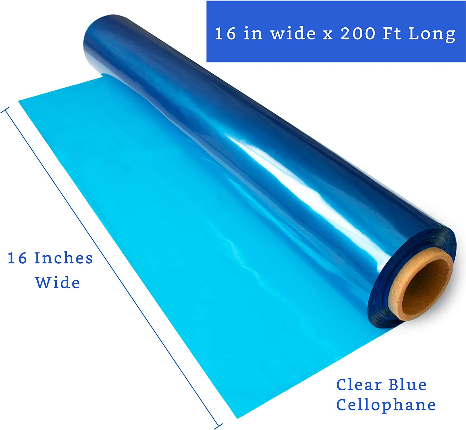 16 in x 200 ft 200 ft Blue Cellophane Wrap Roll Cellophane Paper Colored Cellophane Wrap Blue Clear Wrap - Colored Cellophane Roll Cellophane Roll Blue- Blue Roll Blue Transparent Paper