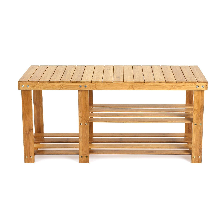 HOMFA Bamboo Shoe Rack Bench 3 tier Shoe Stand Rack Storage Organiser Holder 70*28*46cm HF