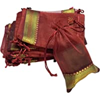 KRIWIN Pack of 50 Pieces Silk Tissue Drawstring Closure (Maroon , 18 X 12 cm)