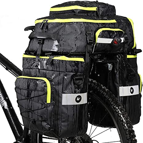 LKN 75L Bicicleta de Ciclismo Resistente al Agua 3 en 1 Bolsa de alforja Trasera Bolsa multifunción para Bicicleta Trasera con Cubierta para Lluvia-Amarillo: Amazon.es: Deportes y aire libre