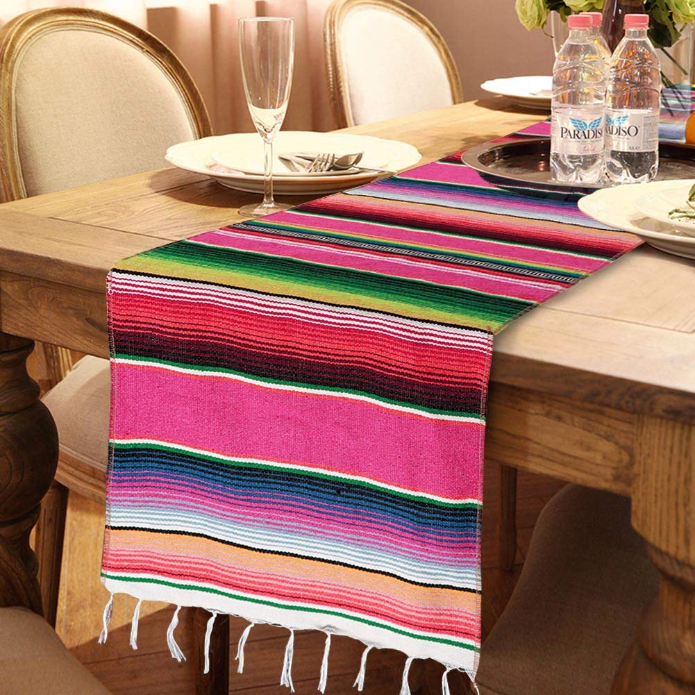 OurWarm Mexican Table Runner with Tassels 14in x 84in Fringe Cotton Striped Table Runners for Mexican Day of The Dead Party Decorations, Mexican Serape Blanket Table Runner
