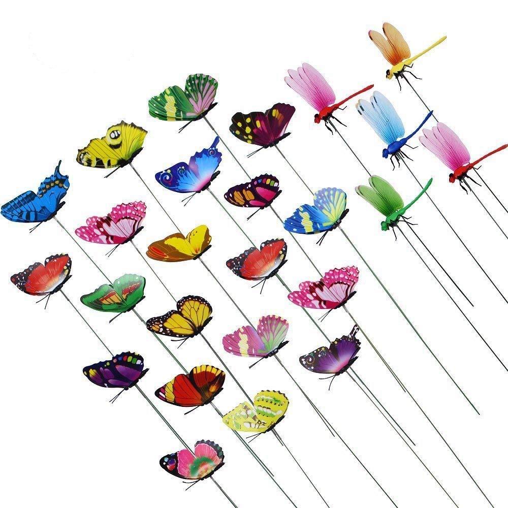 AccMart Butterfly Stakes Outdoor Yard Planter Flower Beds Pot Garden Decor  Butterflies Christmas Decorations (25PCS)