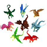 SN Incorp. Mini Dragon Toy Figures in Assorted Colors and Styles - 2 Inch Plastic Dragons Pack of 24