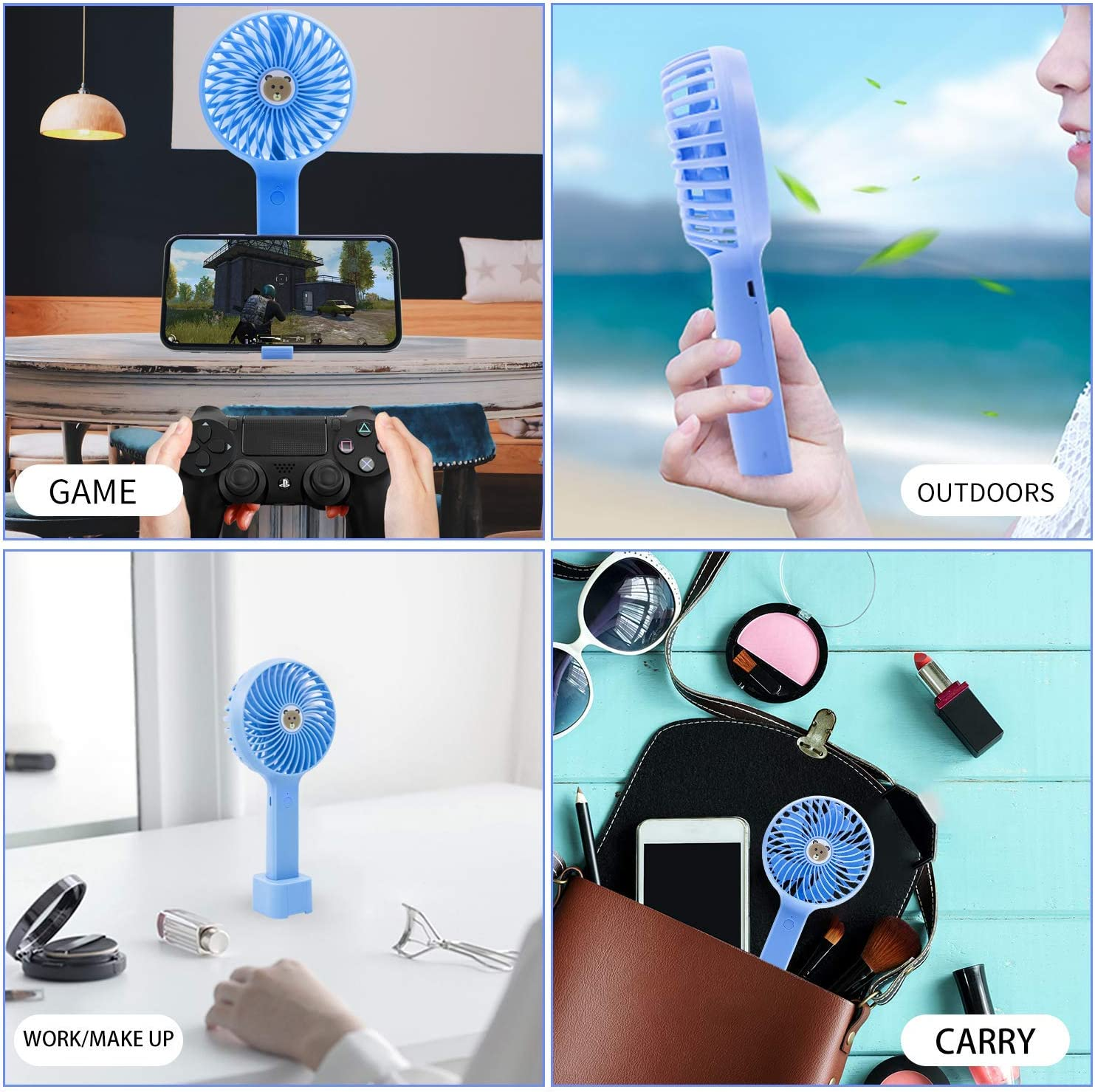 Handheld Fan,USB Rechargeable,3 Speeds ,Blue for Laptop Table Camping Outdoors Home Office WYQWANLJX Mini Fan 2Pcs