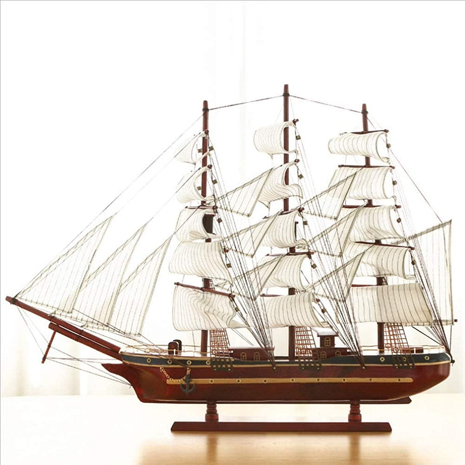 Drohneks Ship Model Wooden Sailing Handcrafted Home Decorative Nautical Wooden Pirate Ship Sailboat Boat Model Decor 80Cm62Cm