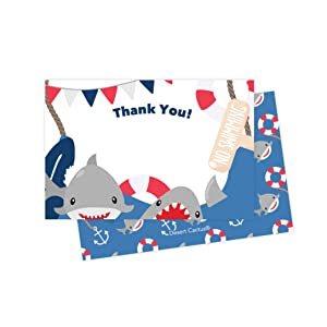 Shark Thank You Cards (25 Count) With Envelopes & Seal Stickers Bulk Birthday Party Bridal Blank Graduation Kids Children Boy Girl Baby Shower (25ct)
