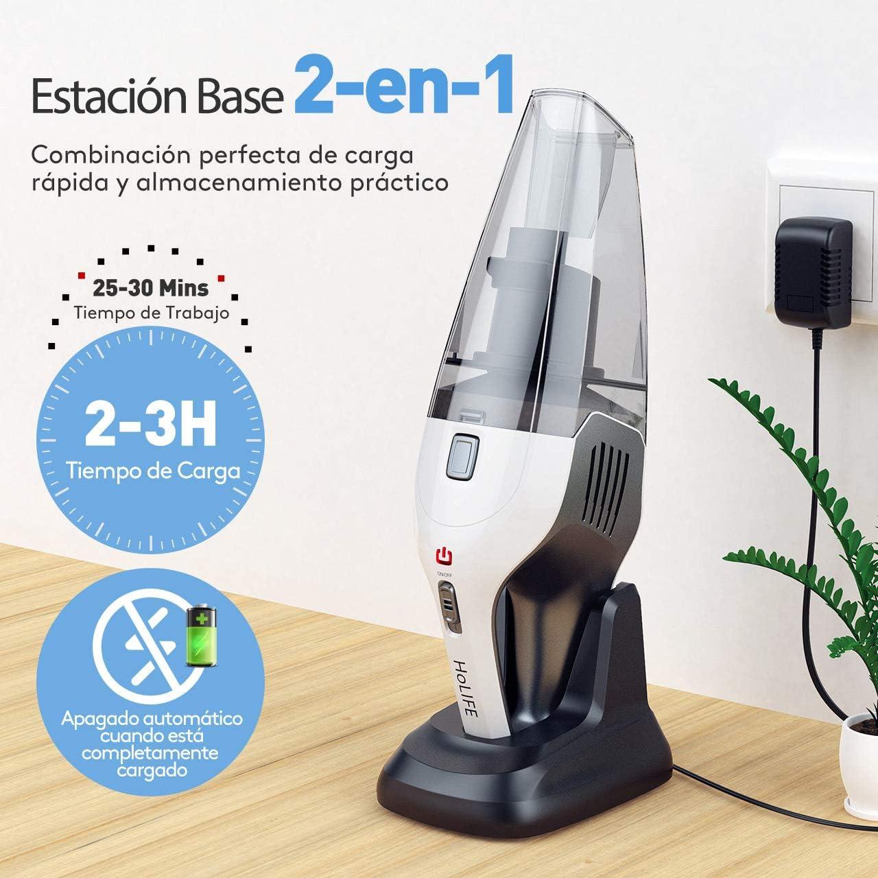 Holife Aspiradora de Mano, aspiradora de 7 Kpa Aspiradora de aspiradora para automóvil Mesa Fuerte Recargable con 2 filtros para el hogar, automóvil, líquido y seco: Amazon.es: Hogar