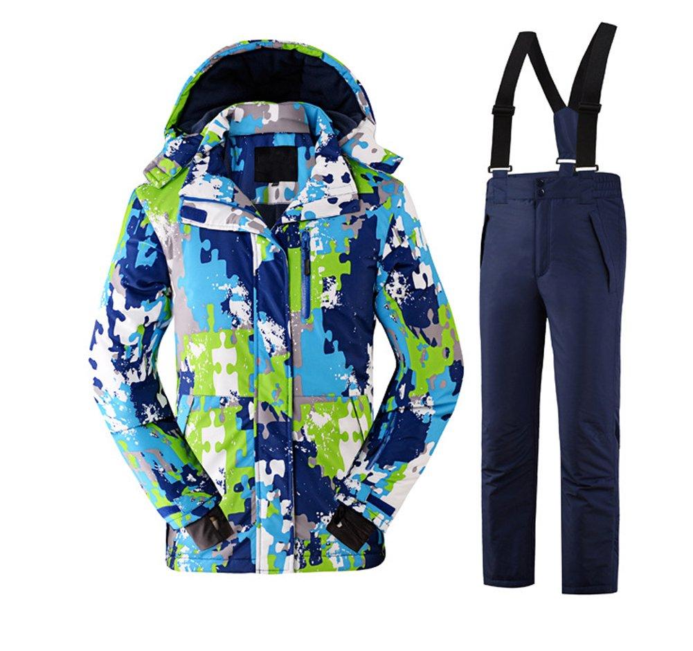 Tortor 1bacha Kid Boy Girl Windproof Waterproof Camo Hooded Ski Jacket Snow Pant Set KQL7083