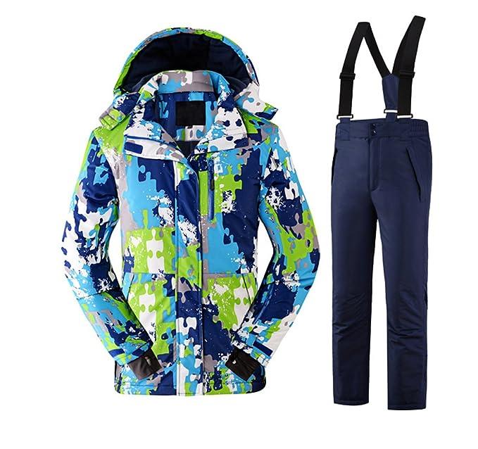 Tortor 1bacha Kid Boy Girl Windproof Waterproof Camo Hooded Ski Jacket Snow  Pant Set Navy 5 06c5222f9