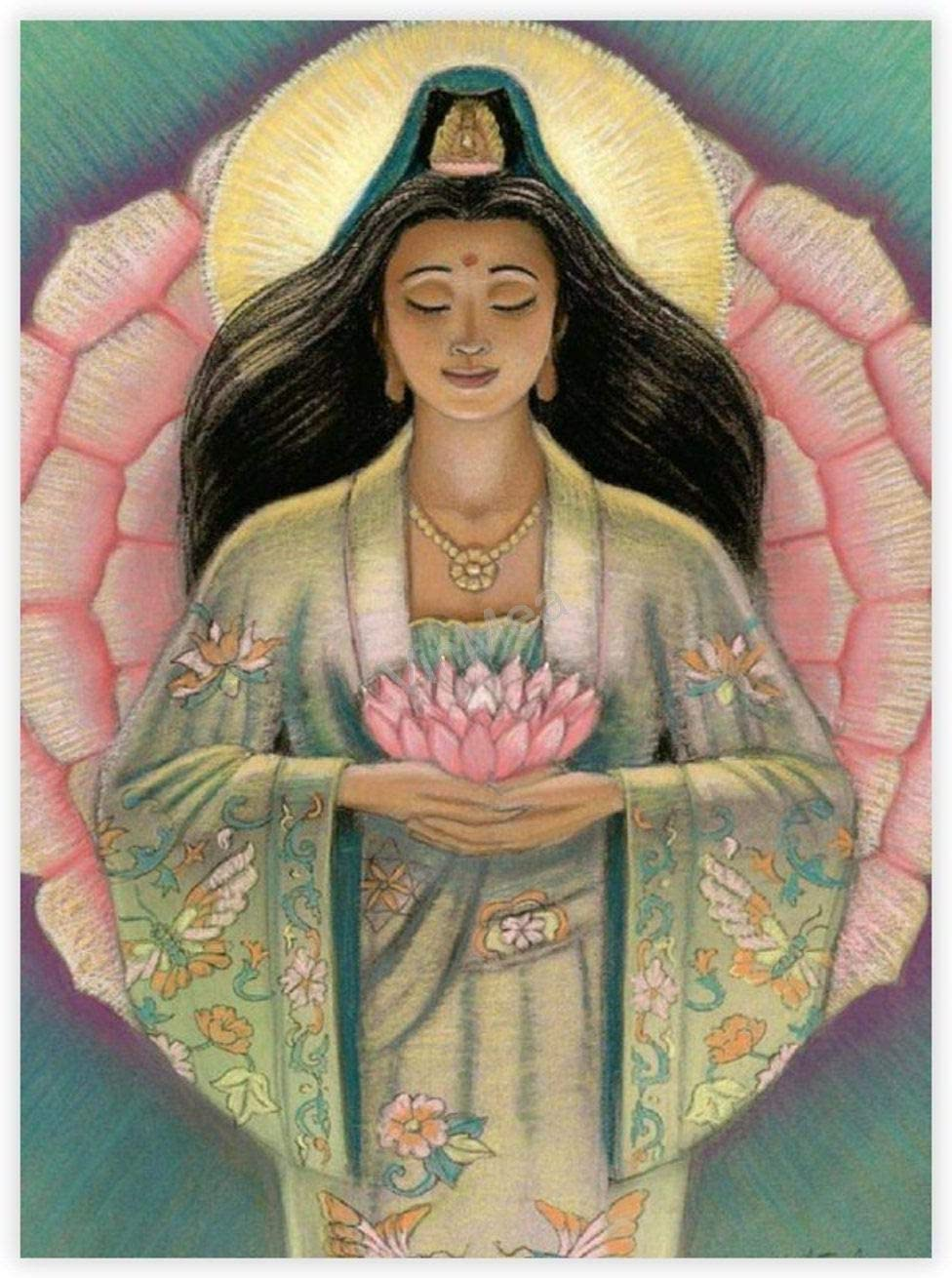 "Fine Art Prints Kuan Yin Pink Lotus Heart Unframed Prints Paper Poster Wall Decor, 24""x33"""