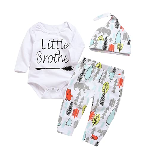 c1f40fb272b1 Amazon.com  3Pcs Baby Boy Girls Little Brother Arrow Romper Bodysuit ...