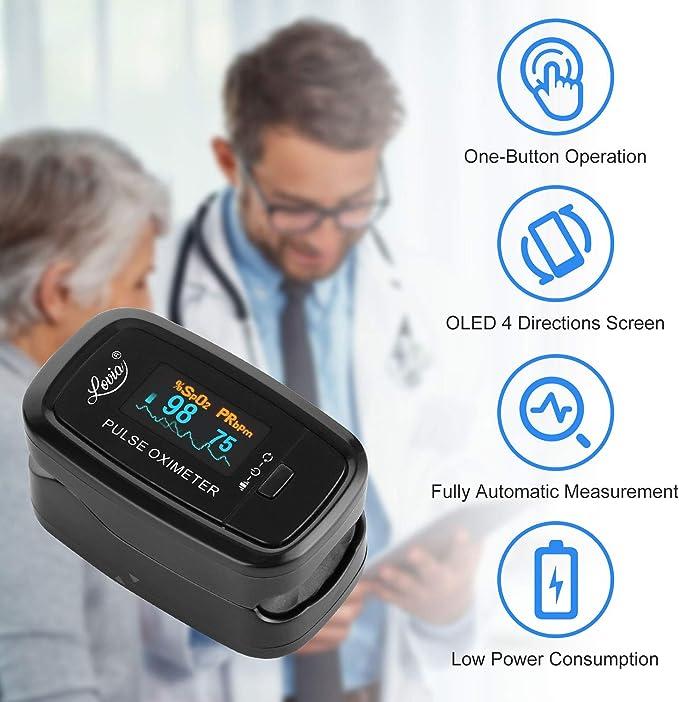 Amazon.com: Lovia - Oxímetro de pulso para dedo, monitor de ...