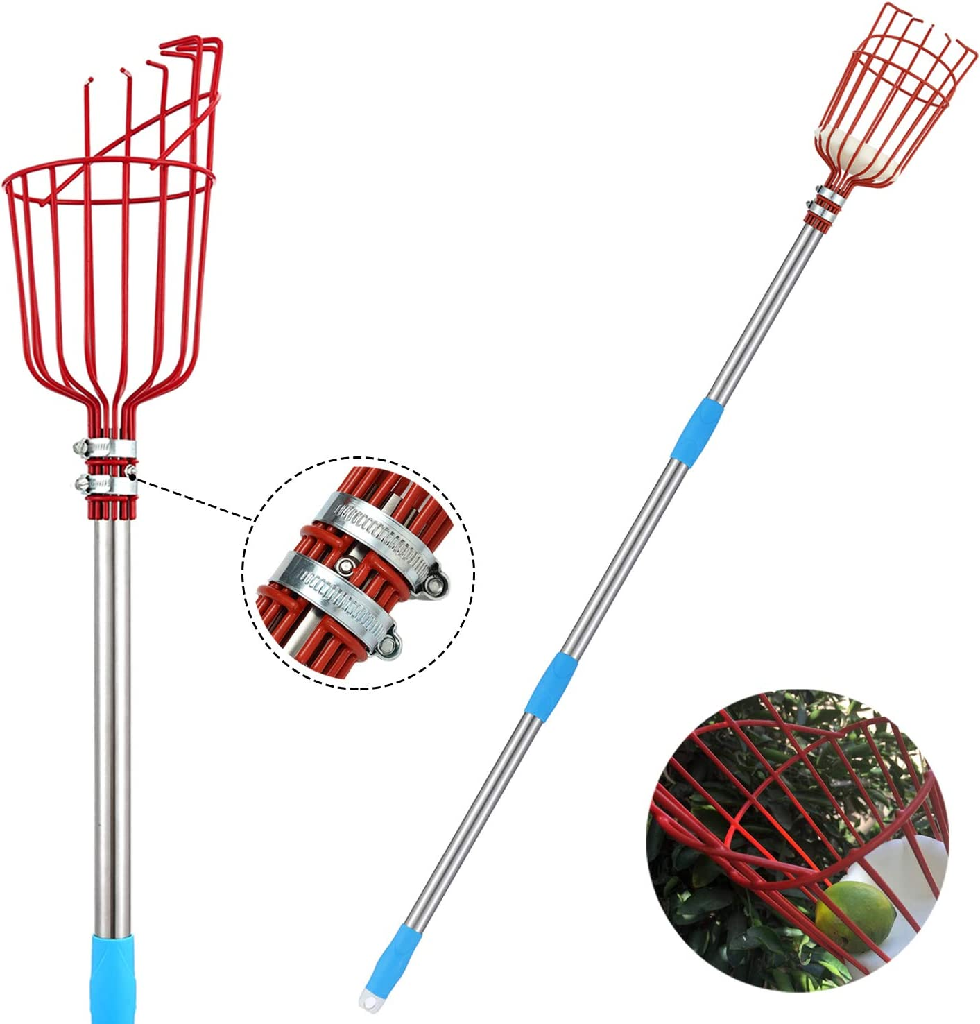INFLATION Fruit Picker Tool - 8 FT Stainless Steel Splicable Pole with Basket, Lightweight Fruit Picking Equipment for Getting Fruits