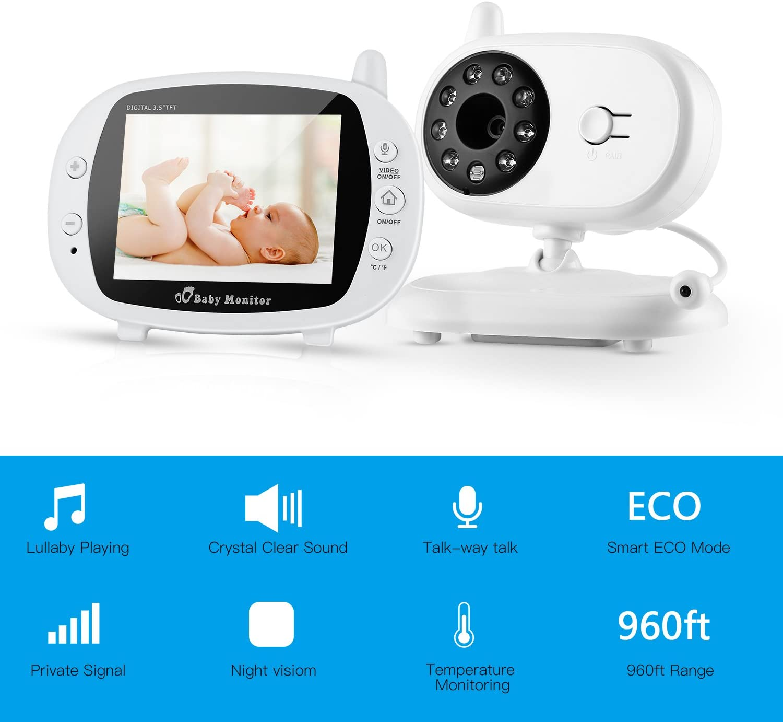 Blanco LESHP C/ámara de Beb/é 3.5 2.4GHZ 300M Inal/ámbrico TFT LCD Baby Monitor con Monitorizaci/ón de la Temperatura// Luz nocturna incorporada// 2 V/ías Talkback System Monitor de beb/é