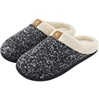ULTRAIDEAS Men's Comfort Memory Foam Slippers Wool-Like Plush Fleece Lined Indoor & Outdoor House Shoes