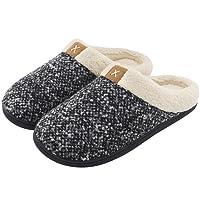 ULTRAIDEAS Men's Comfort Memory Foam Slippers Wool-Like Plush Fleece Lined Indoor & Outdoor House Shoes